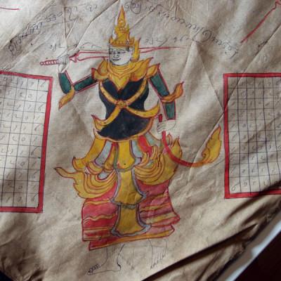 Tissage en soie peinte. Enseigne d'un astrologue. Photo Marchés d'Asie.